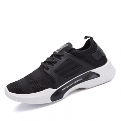 Men's breathable flying woven mesh sports shoes N07 black 39