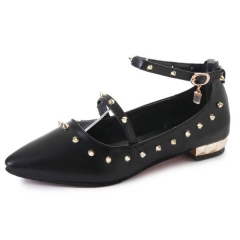 New woman shoes word buckle rivets single shoes female pointed shallow mouth casual shoes 509-3 black 35