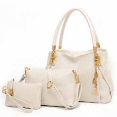 fashion pu leather  handbag women messenger bags brand designs bag Handbag+Messenger Bag+Purse 1 set white standard