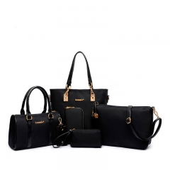 Lady's Handbag Messenger Crossbody Women's Shoulder  Bag 6 Sets black one size