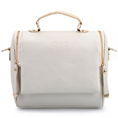 Women PU shoulder bag British crown clutch handbags white one size
