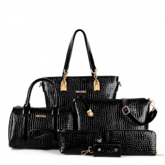 Fashion 6pcs Women's Handbags Alligator Composite Bag set black one size