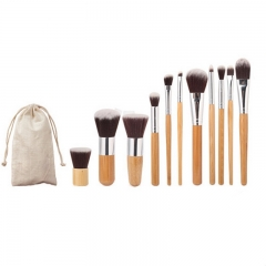 11pcs/set Makeup Brush Set with linen bag white