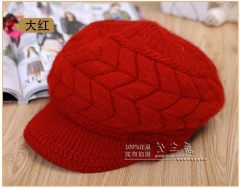Elegant Women Hat Winter Autumn Beanies Knitted Hats For Woman Rabbit Fur Cap Ladies red