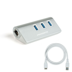 FREEGENE Unibody Aluminum 3-Port USB 3.0 and Gigabit Ethernet Hub Combo silver 22-AW770 1