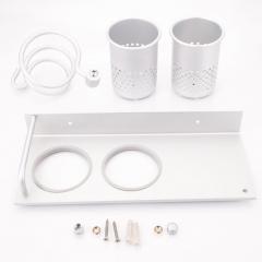 Hair Dryer Stand Storage Organizer Rack Holder Hanger Wall Bathroom Set Sliver silver one size