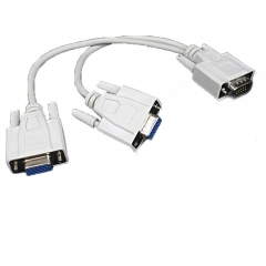 VGA SVGA Y Splitter monitor video Cable 1 to 2x for PC black one size