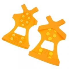 Professional 10 Steel Teeth Outdoor Antiskid Shoes Covers Crampons GPU-AA yellow M
