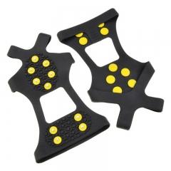 Outdoor Climbing Antiskid Shoes Covers Crampons Steel + GPU-AA 10 Steel Tooth black l