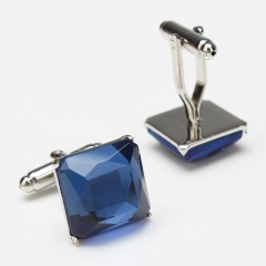 Square Blue Crystal Cufflinks Men's Gift Party Wedding Cuff Links blue one size