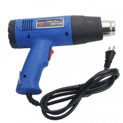 110V Dual Temperature Heat Gun with Accessories Shrink Wrapping 4 Nozzles Blue