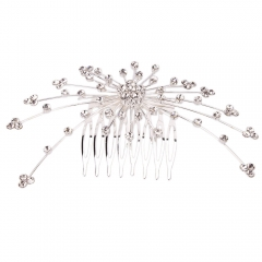 Fashion Wedding Bride Rhinestone Hair Comb Stick Pin Tiara Hairpin Party silver one size
