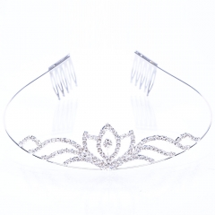 Fashion Flower Shape Design Alloy Bridal Hair Jewelry Crown Tiara silver one size