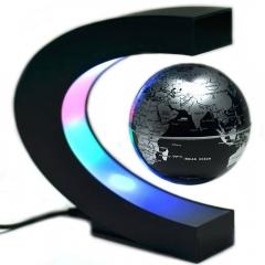 C Shape LED World Map Decoration Magnetic Levitation Floating Globe silver one size