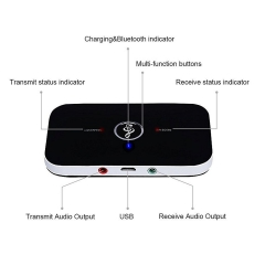 2in1 Bluetooth Transmitter & Receiver A2DP Car Home TV Stereo Audio Adapter DC5V black one size