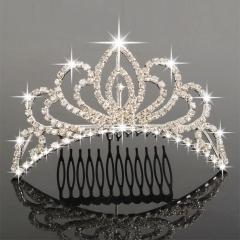 Beautiful Wedding Bridal Rhinestone Tiara Crown Hair Comb Pin 04 silver one size