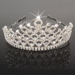 Bridal Princess Austrian Stunning Crystal Hair Tiara Crown Veil Head Jewelry silver one size