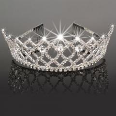 Crystal Wedding Prom Crown Rhinestone Hair Jewelry Headband Bridal Veil Tiara silver one size