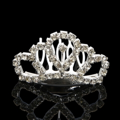 Wedding Bridal Crystal Diamante Silver Plated Tiara Crown Princess Prom Pageant silver one size