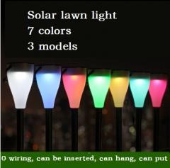 New LED seven color solar lamp, outdoor insert garden lamp, waterproof lawn lamp, landscape lamp blue 1pcs