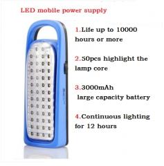 Bright LED outdoor lighting energy-saving lamp rechargeable household emergency flashlight lantern Blue 220 1200-3000mAH