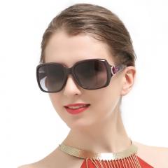 Oversized Square Vintage Women Polarized Sunglasses Black Retro Glasses black 3609