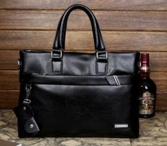 New fashion men 's handbag full leather business computer bag shoulder bag Messenger bag black cross section one size