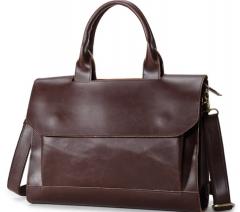 Retro shoulder bag briefcase business handbag Messenger bag business men bag black one size