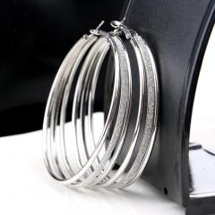 MRS Multi-layer matte earrings silver one size