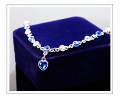 Korean fashion crystal diamond Diamond Bracelet Heart female personality jewelry blue one size