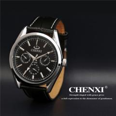 MRS CHENXI Simple quartz men's watch waterproof leather belt student male watch watch black one size