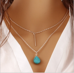 Simple Street Patches Water Drops Stones Metal Stripes Multi - layer Necklaces silver one sze