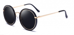 JIALU New trend sunglasses fashion round frame with glasses box black one size