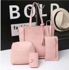 4 in 1 Graceful Bucket tassel shoulder bag handbag purse pink one size
