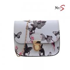 MR.S Shoulder Bag Narcissus flower print small square bag white one size