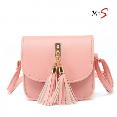 MR.S Elegant Tide leisure tassel shoulder bag pink one size