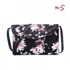 MR.S New Flower Printing Narcissus envelope bag black one size
