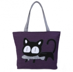 Guapabien Cat Fish Cartoon Zipper Canvas Tote Bag for Women purple one size