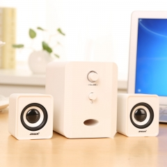 Compact Portable Multimedia Laptop Computer Speaker Support AUX Input by USB kk0028 pure white