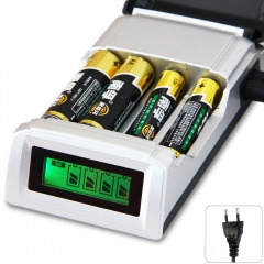 Universal 4 Slots LCD Smart Intelligent li-ion Battery Charger Rechargeable Batteries EU Plug kk0079