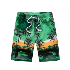 Men's Swim Trunks Coconut Tree Printing Beach Short for Gift With Mesh Lining green m