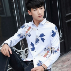 2017 New Autumn Fashion Brand Men Clothes Slim Fit Men Long Sleeve Shirt Men blue m