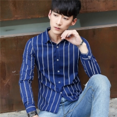 Men Shirt  Cotton 2017 Spring Autumn Casual Long Sleeve Shirt Soft Comfort Slim Brand Man Clothes blue m