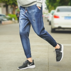 Men's fashion vintage washed blue jeans Slim straight stretch denim pants Long trousers blue 3xl