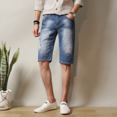 2017 Summer Men Jeans Male Denim Shorts Knee Length Pants Half Cropped Capris Short Pants blue 28