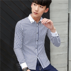 British Style Long Sleeve Casual Black Plaid Shirt Brand Men Blouse 2017 Autumn Shirt blue m