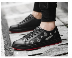 British Street Style Men Shoes Brogue Shoes Men Black Red Lace Up Loafer Shoes black 39