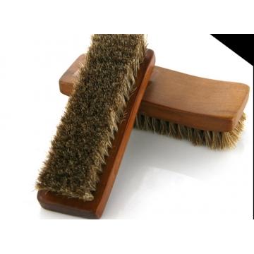 Professional Natural Bristle Horse Hair Shoe Shine Polish Buffing Brush Wooden dark brown 15.5*5cm