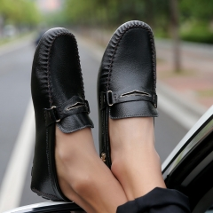 Fashion Summer Style Soft Moccasins Men Loafers High Quality Genuine Leather Driving Shoes black 39