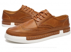 Men's Leather Brogues Dress British Carved Leisure Flats Men Oxford Male Casual Shoes brown 39